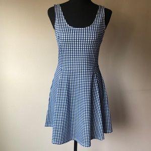 H&M Sleeveless Blue Gingham Jersey Skater Dress